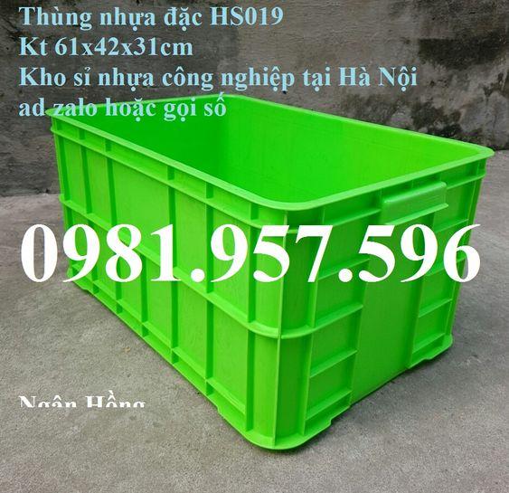 Sóng Nhựa Bít 3T1  HS019, thùng linh kiện, thùng nhựa dùng trong các nhà máy, thùng nhựa đặc, thùng vận chuyển hải sản, thùng nhựa có nắp