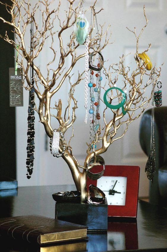 "30"" Gold Painted Jewelry Tree / Jewelry Organizer $112"