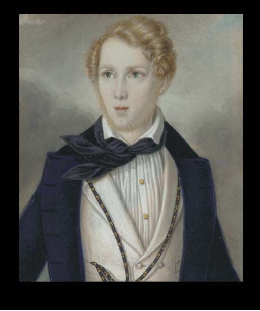ENGLISH SCHOOL, CIRCA 1840  A young sailor in open blue coat, white waistcoat and shirt, wearing a navy blue ribbon watch guard embroidered with anchors  in gilt wood frame  rectangular, 3 x 2½ in. (76 x 65 mm.)
