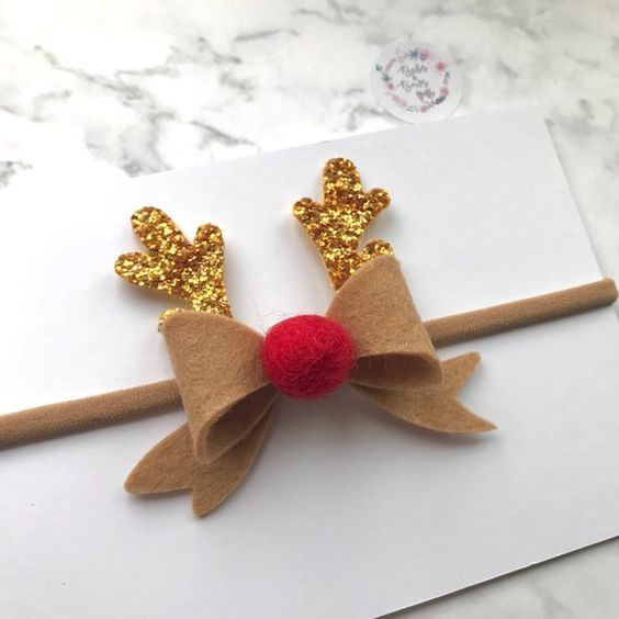 Christmas Red Nosed Reindeer Antler Bow Hair Accessory | Etsy