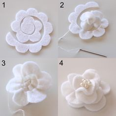 White Magnolia Felt: pin onto headband or something for texture: