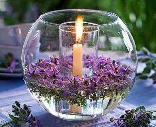 Peceras para tu mesa con flores flotantes- truco casero ~ cositasconmesh