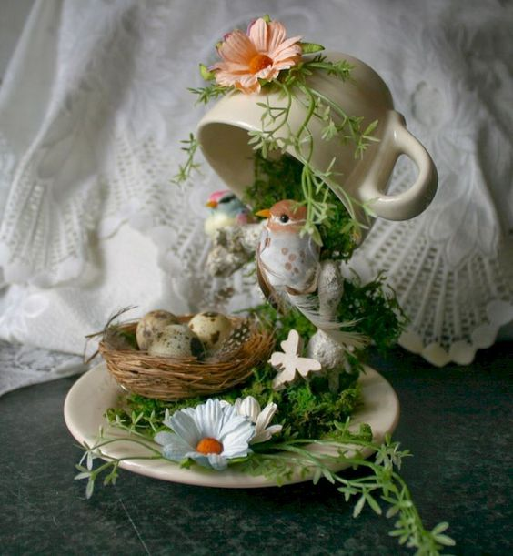 50 easy diy summer gardening teacup fairy garden ideas (20)
