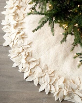 felt or fleece white poinsettia christmas tree skirt