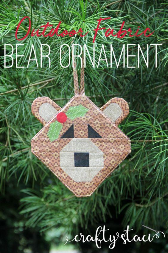 Outdoor Fabric Bear Ornament from craftystaci.com #outdoorchristmasdecor #bears #christmasornament #oregon #capitolchristmastree