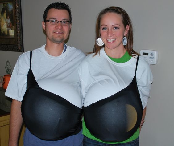 This is our easy lazy Halloween Costume. What can I say... it brings out the breast of us.