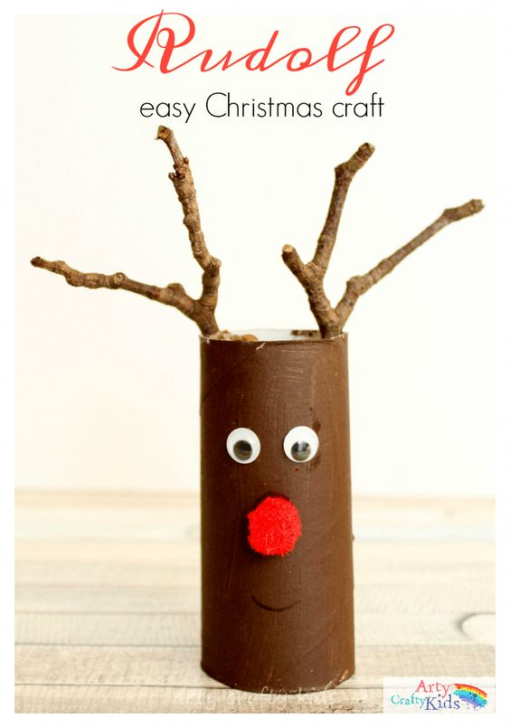 Easy Paper Tube Rudolf Christmas Craft- the perfect craft for toddlers and preschoolers! they will love using their collection of twigs to help transform their paper rolls into reindeers. #childrenchristmasgiftsideas