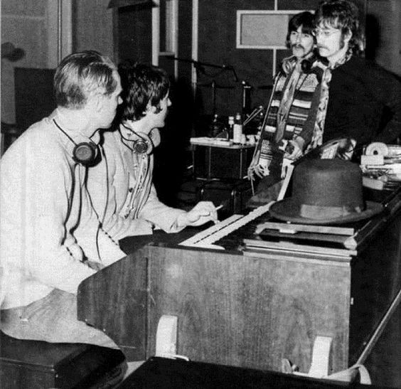 George Martin, Paul McCartney, George Harrison and John Lennon during Sgt. Pepper's album recording sessions, 1967