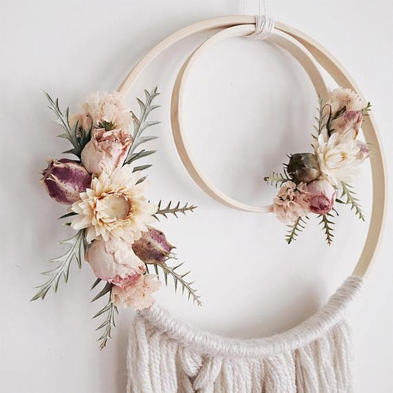 Boho Dreamcatcher | Dried Flowers | Wallhanging | Dreamcatcher | Bohemian | Boho Style | Nursery Decor | Bridesmaid | Wedding Decor