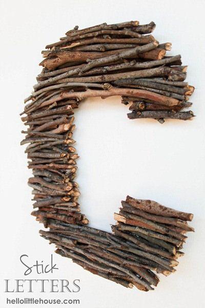 branches + sticks monogram letter @Beth Spugnardi  @Alex Spugnardi  @Rose Spugnardi  Wedding Craft?