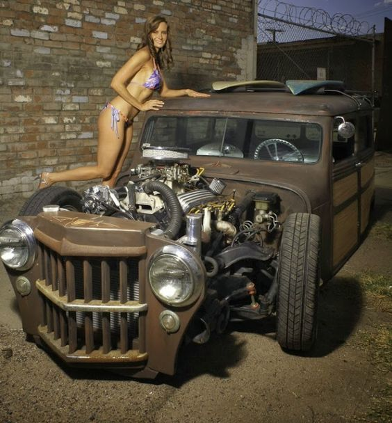 Willys Rat Rod Truck | This is a 1961 wicked Willys Jeep surfer woody that has been chopped ...