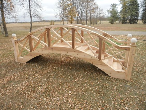elegant wooden garden bridge
