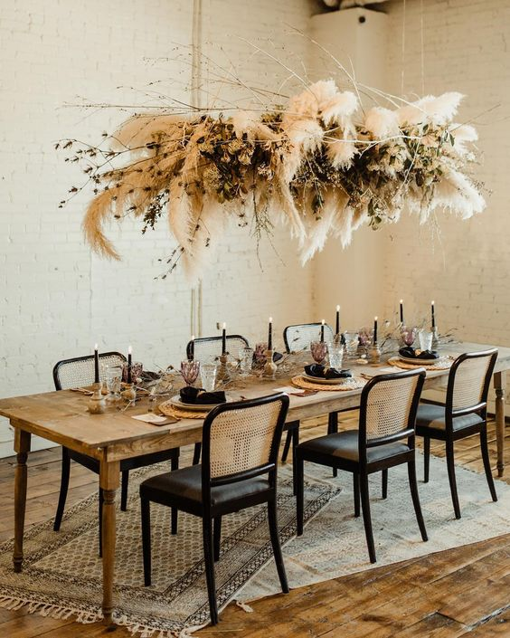 "Green Wedding Shoes / Jen on Instagram: ""Pampas grass installation of our DREAMS. Who else adores this rustic meets modern tablescape? 😍 Perfect for FALL, don't you think? 🍂Find…"""