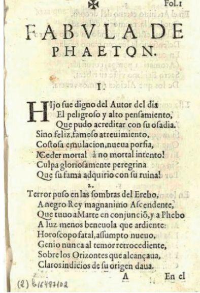Fábula de Faetón del Conde de Villamediana.