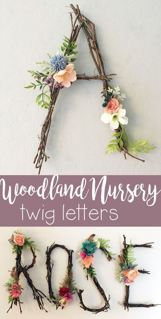 I love this idea to make letters or even the whole name out of twigs and flowers...