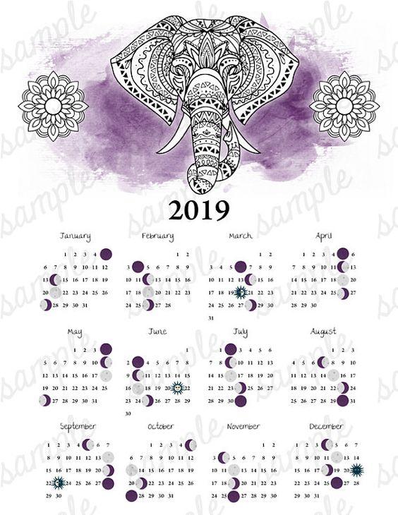 2019 Moon Phase Calendar Elephant Equinox Solstice Astronomy