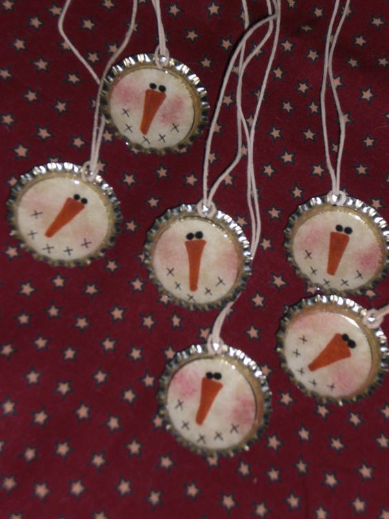 bottle cap snowmen ornaments... Finally something to do with all my beer bottle caps lol