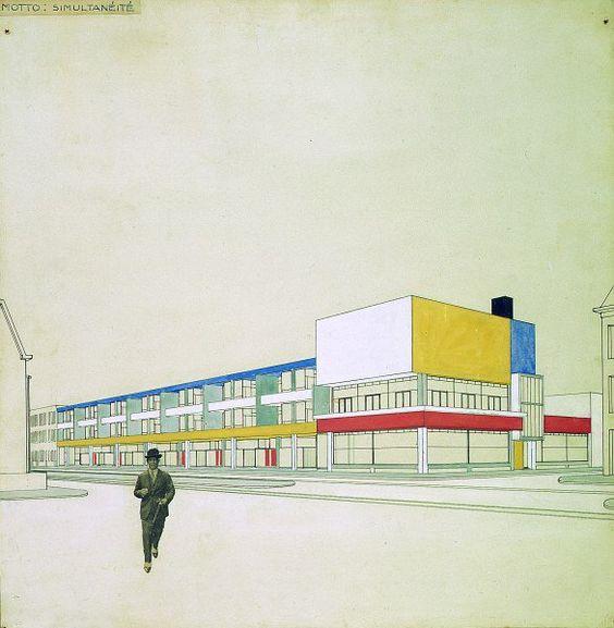 Theo van Doesburg and Cornelis van EesterenPerspective with final colour design, Shopping arcade with bar-restaurant, Laan van Meerdervoort, The Hague 1924