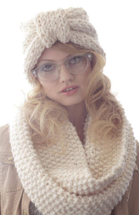Winter White Half Turban Earwarmer  Ready to ship by ClaireVerity, $40.00