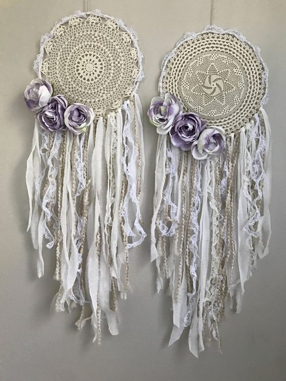 White and lavender boho dream catchers. Shabby chic Bohemian bridal or baby shower decor. Purple white and cream dream catcher with lace and crochet. #shabbychicbedroomsdecoratingideasdreamrooms