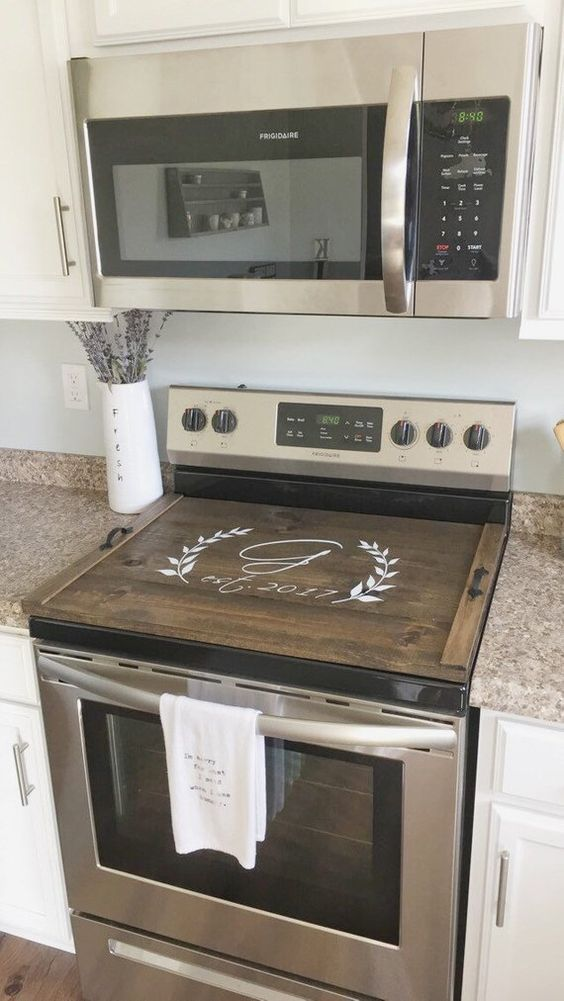 Stove Top Cover Custom Wooden Stove Cover Personalized Stove