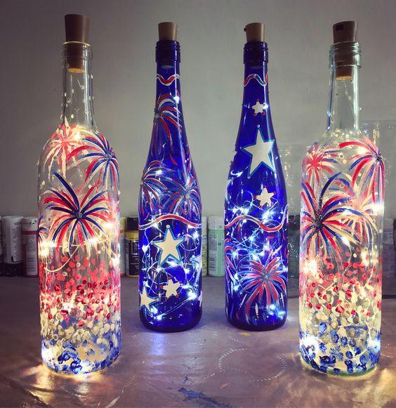 Bottiglie di vino dei fuochi d'artificio