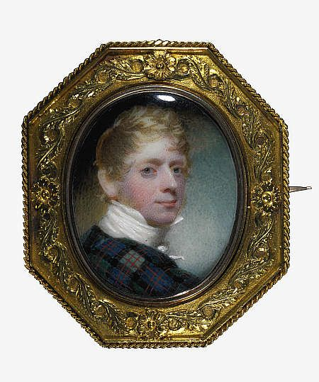Andrew Robertson, 1777 - 1845. Miniature painter (Self-portrait) 1811, Painted on ivory, this self-portrait has been mounted on a brooch. The brooch is designed to swivel round, revealing a gold cupid, dog and harp on the reverse. Robertson, one of the finest Scottish miniaturists, studied under Alexander Nasmyth and Sir Henry Raeburn. This miniature shows Robertson's typical style of painting, characterised by clear drawing and forceful modelling.