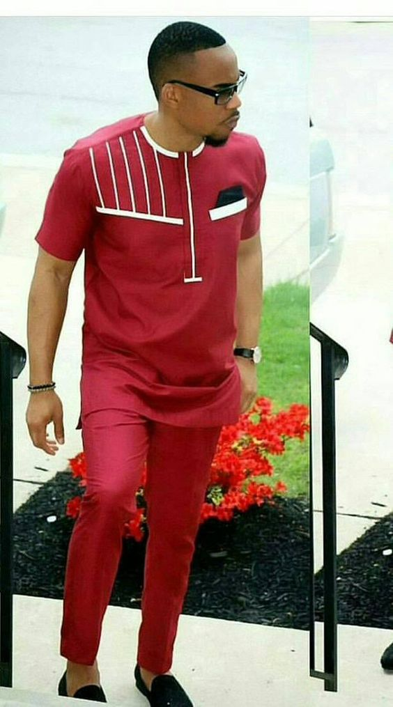 Red ankara shirt for men, Short sleeves outfit , made in polished cotton fabric, designed with white The set includes a shirt and pant. Custom order available, wholesale available ( comes with discount). We accept wedding orders. All our outfits are made with great fabrics and we use great