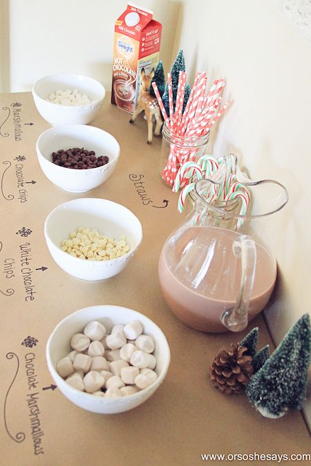 Need a fun way to welcome in the winter weather?? This great idea for a hot chocolate bar would make a great family activity and maybe even become a family tradition!