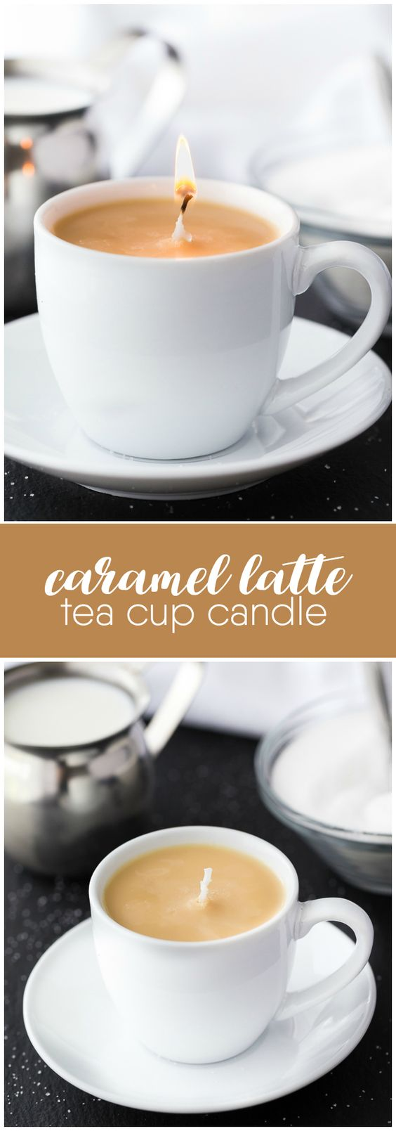 Caramel Latte Tea Cup Candle - A simple DIY gift for a coffee drinker on your holiday gift list. Who knew making candles could be so simple?!