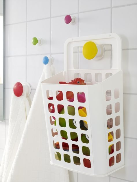 The VARIERA hanging trash basket makes a great organizer for kids' bath toys. Perfect for Dion's bath toys. It can drain the water out into the tub. #BathToysforKids