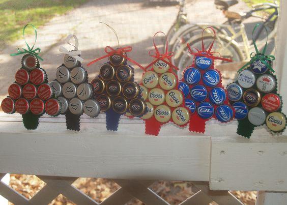 Holiday Cheer Beer Tree Ornaments SIX PACK. $25.00, via Etsy.
