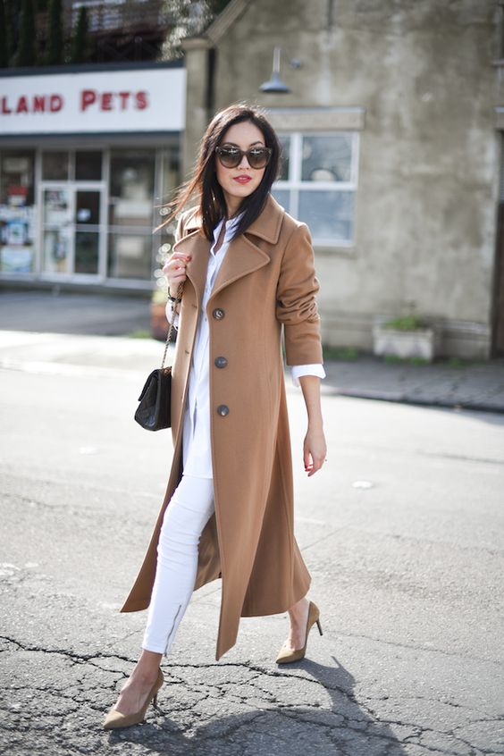 I love the caramel and white combo 9to5chic || Winter 2015