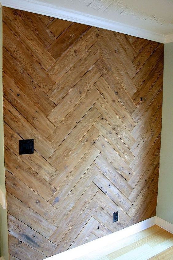 Wood Walls: Stunning Herringbone Plank Wall, Upcycled From an ...
