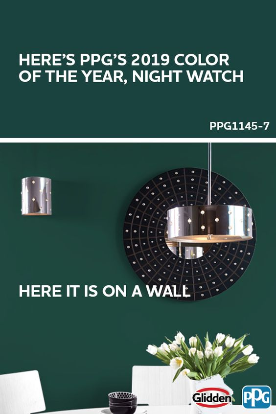 Night Watch is the 2019 PPG Color of the Year. This nature-inspired color is all about bringing the calming and rejuvenating feelings of being outside into your interior and exterior DIY designs. It was hand-selected by a panel of over 20 PPG global color experts and stylists from around the world who believe this classic and dark shade of green will be at the forefront of design trends in 2019.