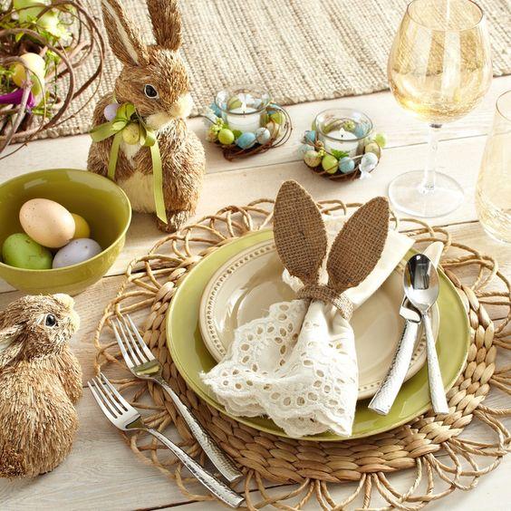 Mesa de Páscoa decorada com elementos rústicos | Eu Decoro