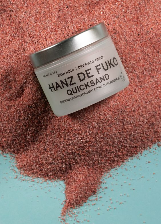 Hanz de Fuko | Quicksand is a world renowed styling wax used on men's hair for a high hold and matte shine finish. Barbers love that it allows for re-styling and re-working hair easily as well as keeping hair sebum healthy which means no breakage. The special ingredients in Quicksand make it double as a dry shampoo, you can apply it at the roots of hair to absorb excess oil, making it great for post workout styling.