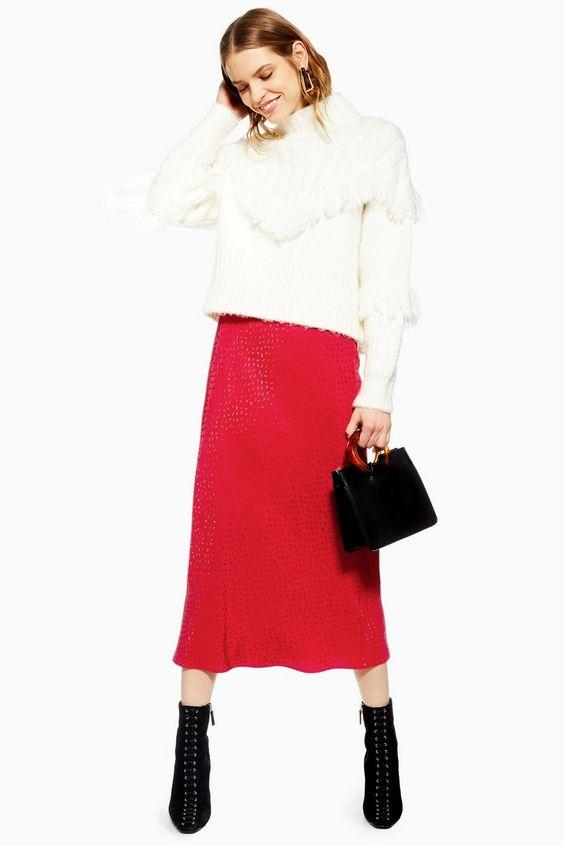 Teardrop Jacquard Satin Bias Skirt - Topshop USA #valentines #valentinesday
