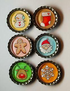 Bottle Cap Tutorial...Christmas Inspired