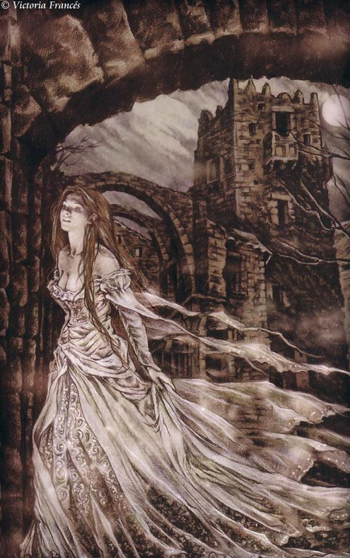 """Victoria Frances. Favole 1. Lágrimas de piedra. """"No permitió que la tentación amorosa calmase su ira, y expulsó entonces a la joven de su castillo, intentando alejar así su inminente e instintivo deseo de darle muerte eterna... Lejos de aquel ser oscuro y su corte esperpéntica huyó Favole, en llanto tortuoso por mil ciudades distintas, siempre con el recuerdo del blasfemo amor que sintió entre los vastos muros del alcázar nubuloso."""""""