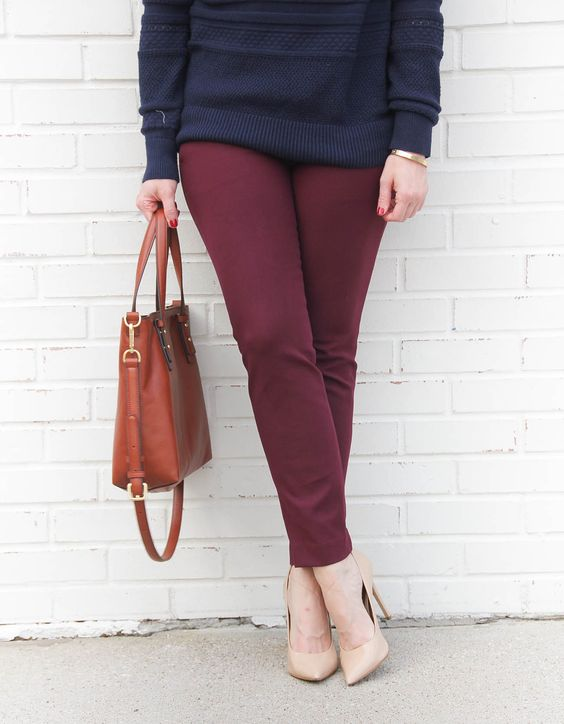 Houston fashion blogger shares what to wear with burgundy pants for work.