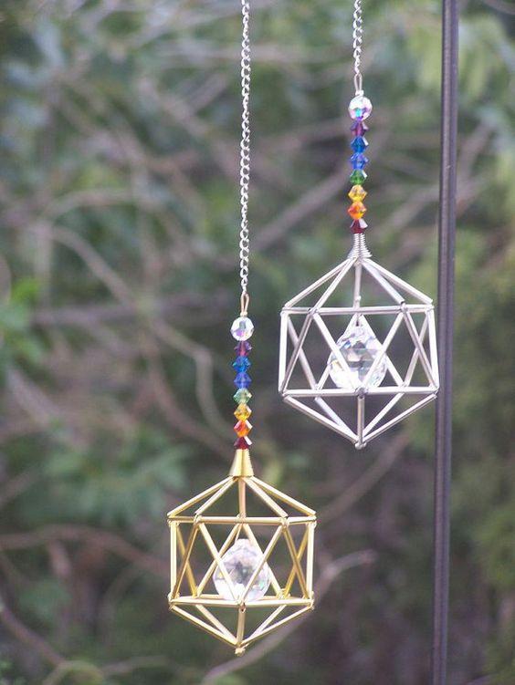 NUOVO 7 Chakras Icosahedron Suncatcher / Pendulum SWAROVSKI