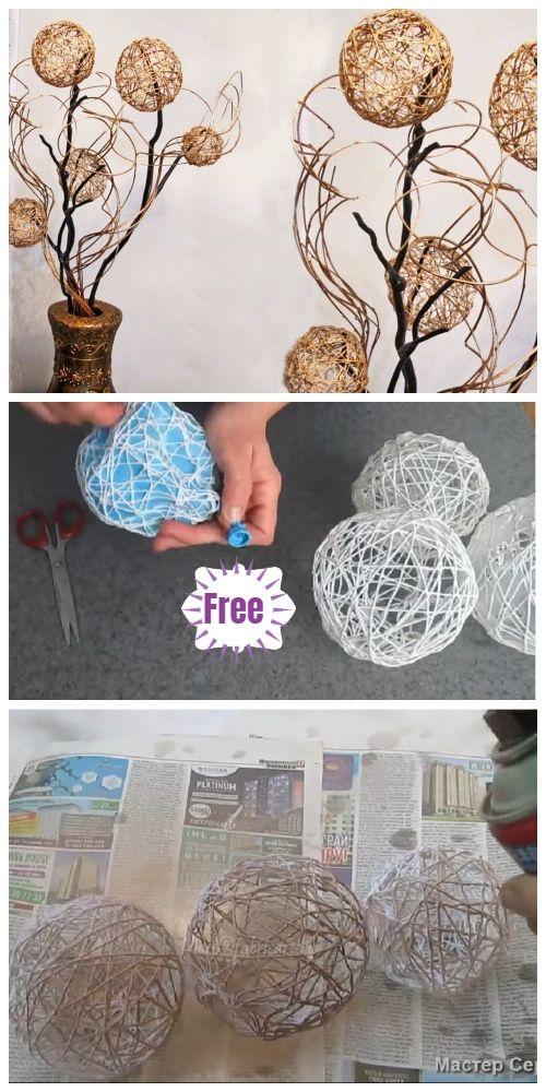 Thread Yarn Ball Home Decor DIY Tutorial - Video