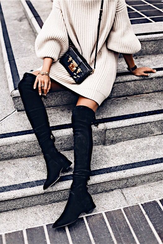 Can never go wrong with a sweater dress, over the knee boots and a cross-body bag