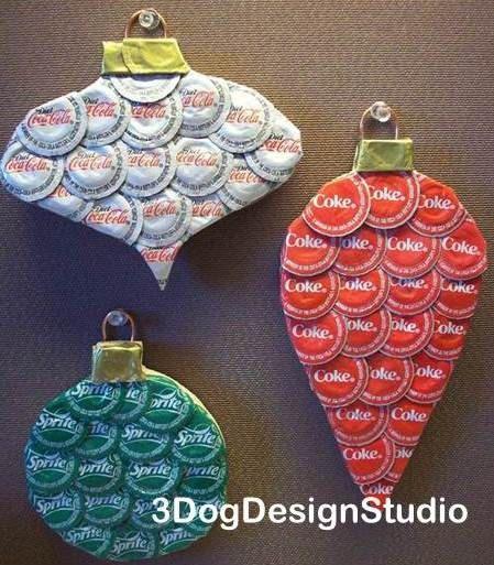 bottle cap ornaments by 3 dog design studio. $18.00, via Etsy.