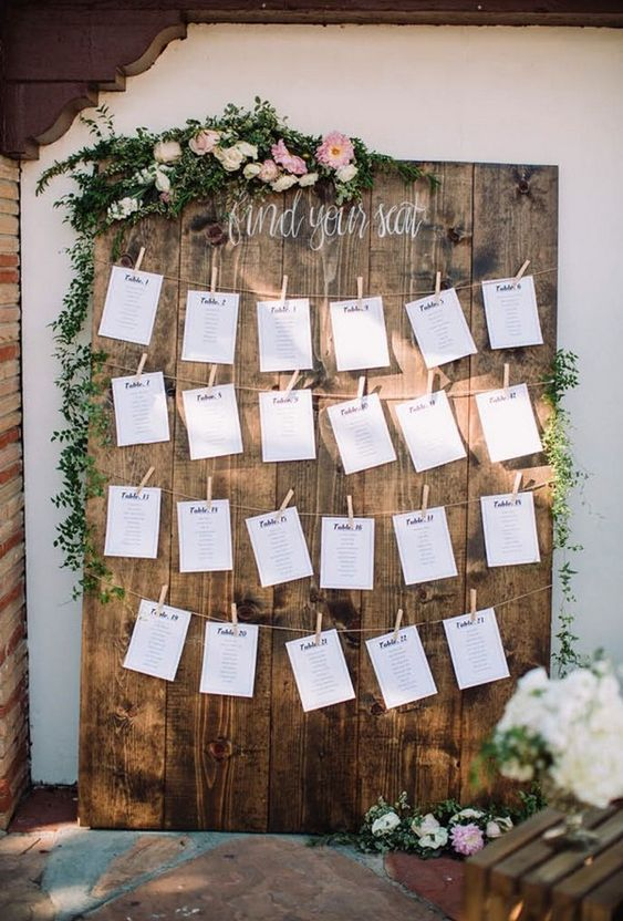 chic rustic wedding seating chart ideas #weddingideas #weddingdecor #weddingreception #weddingseatingplan #weddinginspiration