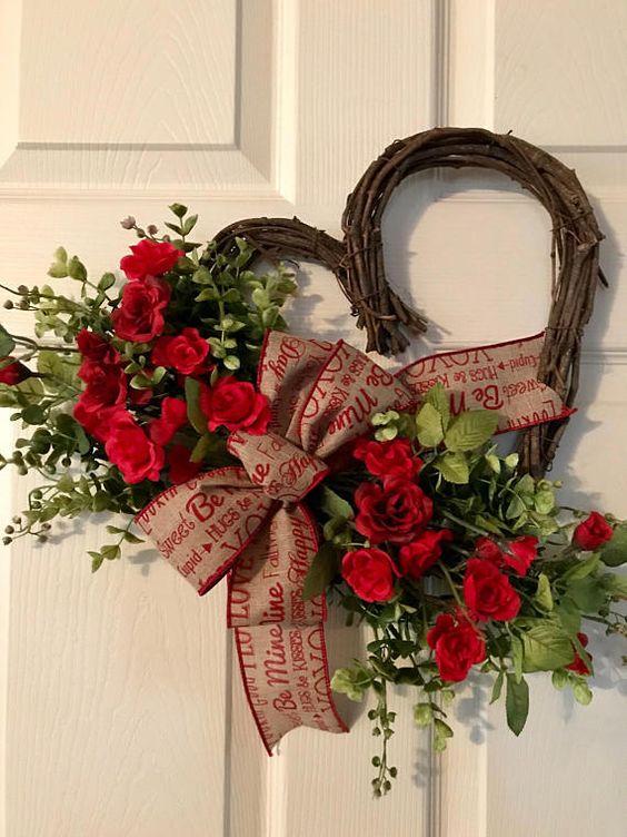 VALENTINE  WREATHHeart Grapevine Wreath Valentine Red Rose