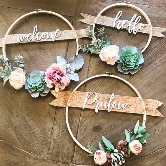 12 in corona succulente con cognomi o Custom saluto | Etsy