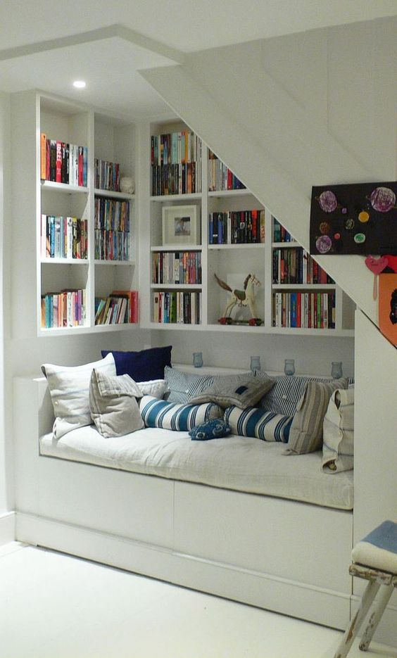 reading sofa under stair - Google Search
