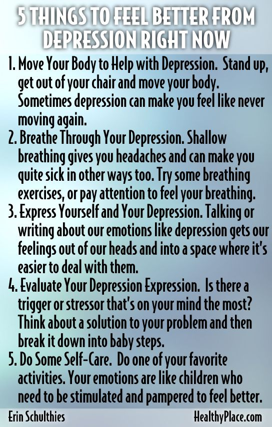 Need help fighting depression? Here are 5 depression self-help ideas you can put to use right away.   www.HealthyPlace.com